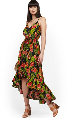 New York & Co. Palm Print Hi-Lo Maxi Dress