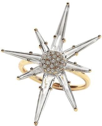 BONDEYE JEWELRY 14kt yellow gold Hera diamond and topaz ring