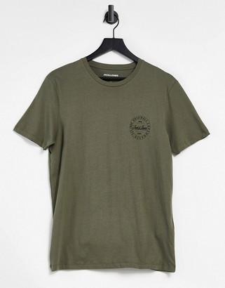 Jack and Jones Originals T-shirt with small script logo in khaki