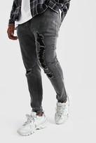boohoo Mens Grey Big And Tall Skinny Jean With Heavy Distressing, Grey