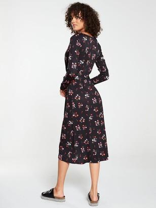 Very Midi Wrap Three Quarter Sleeve Dress - Black Floral