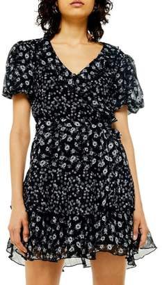 Topshop Ditsy Floral Print Ruffle Minidress