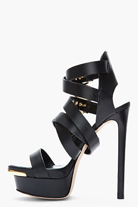 DSquared DSQUARED2 Black Buckled Biker Sandal Heels
