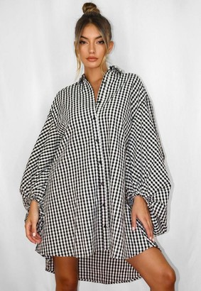 Missguided Black Plaid Puff Sleeve Oversized Shirt Dress
