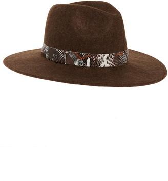 Treasure & Bond Snakeskin Print Trim Wide Brim Wool Panama Hat