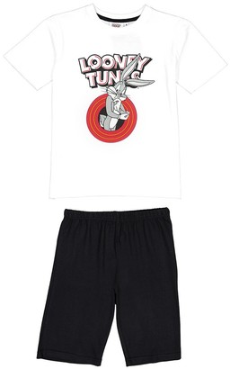 Looney Tunes Cotton Short Pyjamas with Bugs Bunny Print, 6-12 Years
