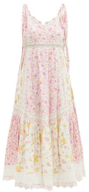 LoveShackFancy Antonella Lace-trim Floral-print Cotton Dress - White Multi