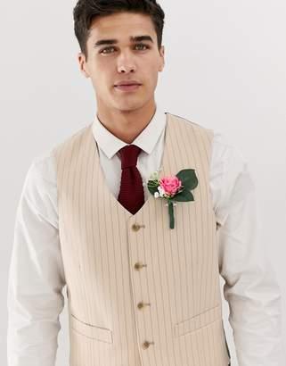 Asos Design DESIGN skinny suit vest in cream pinstripe