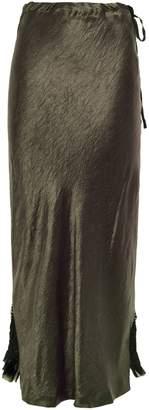 Ann Demeulemeester Asymmetric Crinkled-satin And Georgette Midi Skirt
