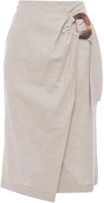 Isolda Wrap-effect Linen And Cotton-blend Skirt