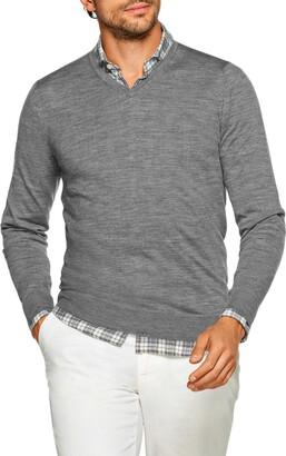 Suitsupply Slim Fit V-Neck Merino Wool Sweater