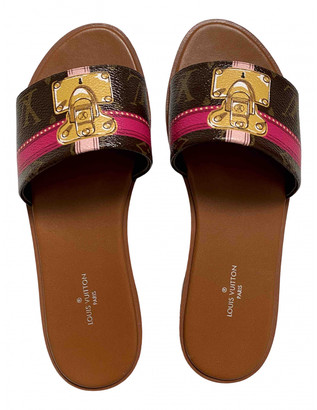 Louis Vuitton Brown Cloth Sandals