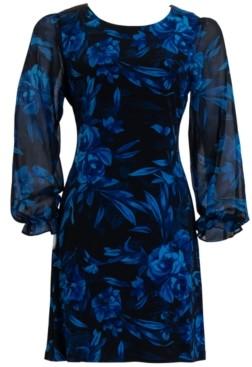 Connected Plus Size Printed Chiffon-Sleeve Sheath Dress