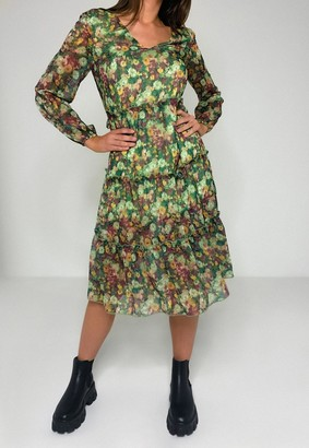Missguided Petite Green Floral Tiered Midi Dress