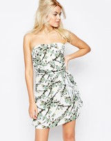 Traffic People Bandeau Dress In Mini Flower Print