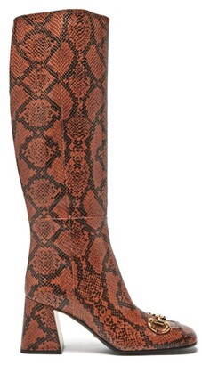Gucci Horsebit Python-effect Leather Knee-high Boots - Python