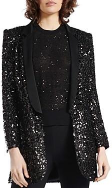Paule Ka Paillette Embellished Shawl-Collar Tuxedo Jacket
