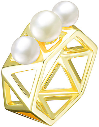 Genevive 18K Over Silver 6-6.5Mm Freshwater Pearl Ring