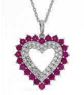 Fine Jewelry Womens Lab Created Red Ruby Sterling Silver Heart Pendant Necklace