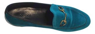 Gucci Jordaan Turquoise Velvet Flats