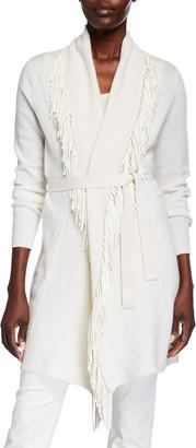 Neiman Marcus Suede Fringe Collar Belted Cashmere Cardigan