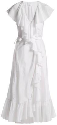 Loup Charmant Callela Ruffle-trimmed Silk Dress - Womens - Nude