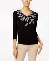 Alfred Dunner Leaf-Embroidered Top