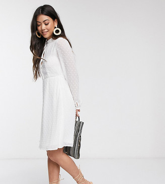 Vila Petite dress with textured print in white