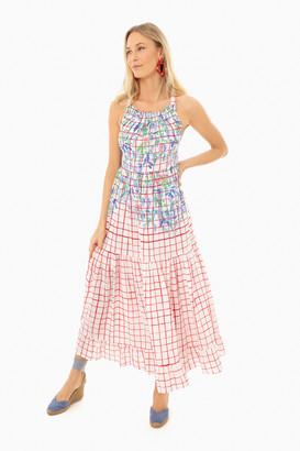 MII Red La Pergola Screen Printed Linen Long Dress