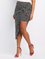 Charlotte Russe Plus Size Striped & Knotted Asymmetrical Skirt