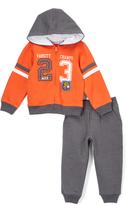 Kids Headquarters Orange Zip-Up Hoodie & Gray Sweatpants - Infant Toddler & Boys