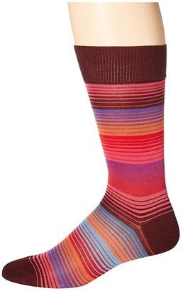 Paul Smith Lenzo Stripe Sock (Burgundy) Men's Crew Cut Socks Shoes