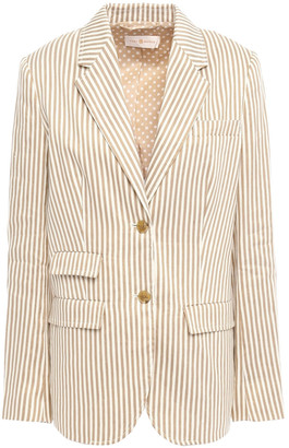Tory Burch Striped Linen And Cotton-blend Twill Blazer