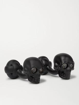 Alexander McQueen Crystal-Embellished Blackened Brass Cufflinks - Men - Black