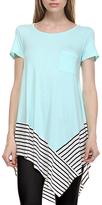 Mint Stripe-Trim Handkerchief Tunic