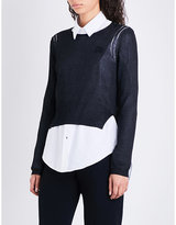 Rochas Logo-embroidered cropped metallic-knitted jumper