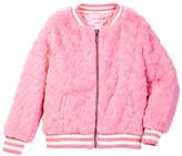 Design History Heart Faux Fur Bomber Jacket (Toddler & Little Girls)