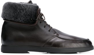 Santoni Shearling Lined Ankle Boots