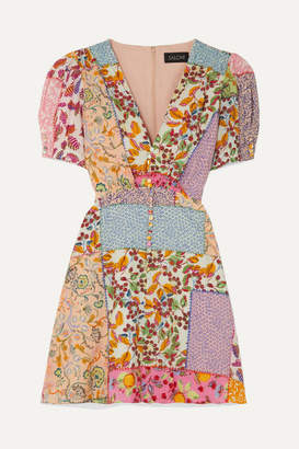 Saloni Lea Printed Cotton-blend Seersucker Mini Dress - Pink