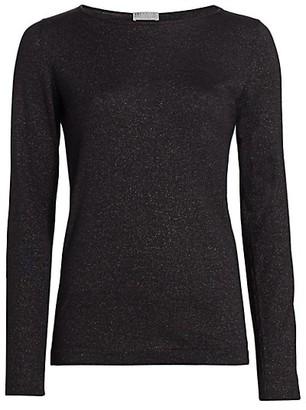 Brunello Cucinelli Lurex Basic Cashmere-Blend Knit Top