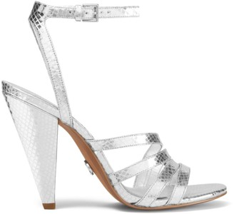 MICHAEL Michael Kors Kimmy Crocodile-Embossed Metallic Leather Ankle-Strap Sandals