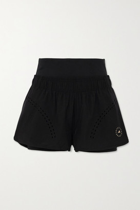 adidas by Stella McCartney Truepurpose Layered Perforated Shell And Stretch-jersey Shorts - Black
