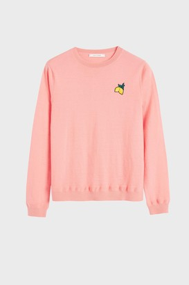 Chinti and Parker Pink Lemon Badge Cashmere Sweater