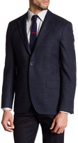 Ike Behar Navy Checked Two Button Notch Lapel Sport Coat