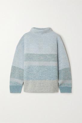 Le Kasha Kinsale Striped Cashmere Turtleneck Sweater - Light green