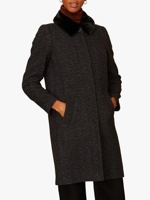 Jigsaw Herringbone Faux Fur Trim Coat, Grey