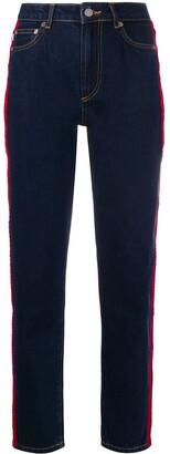 Fiorucci Tara velvet logo tape jeans