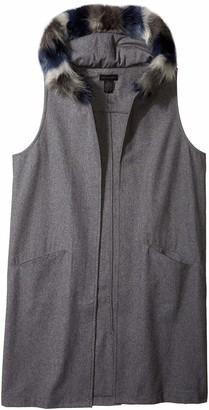 Steve Madden Women's Texttured Woven Long Midi Vest with Faux Fur Hood