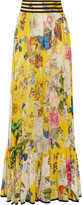 Roberto Cavalli Pleated printed silk-chiffon maxi skirt
