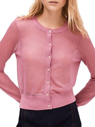 Kate Spade Open-Knit Metallic Cardigan Sweater